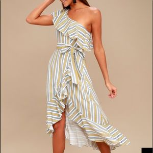 Lulu's striped one shoulder dress